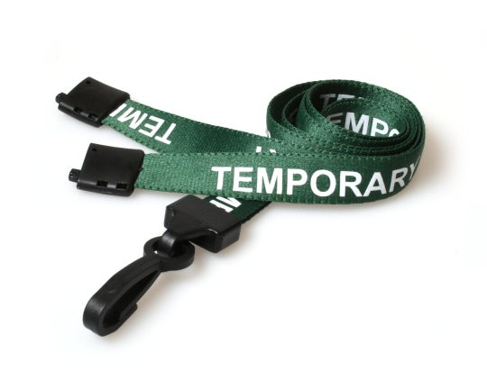 15mm Lanyard Printed Temporary Plastic Clip Green (Pack 10)