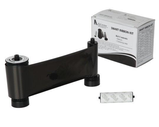 Smart 30/50 Black Mono 650653 Printer Ribbon with Cleaning Roller - 1200 Prints
