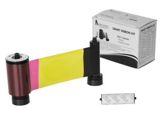 Smart 30/50 YMCKO 650634 Full Colour Printer Ribbon with Cleaning Roller - 250 Prints