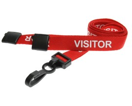 15mm Lanyard Printed Visitor Plastic Clip Red (Pack 10)