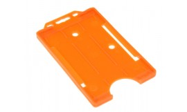 Single open Rigid Portrait Card Holder Orange (Pack 25)