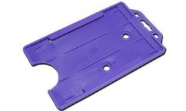 Single open Rigid Portrait Card Holder Purple (Pack 25)