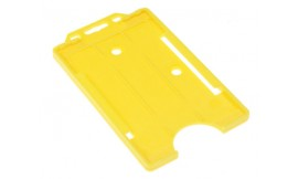 Single open Rigid Portrait Card Holder Yellow (Pack 25)