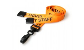 15mm Lanyard Printed Event Staff Plastic Clip Orange (Pack 10)