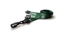 15mm Lanyard Printed First Aid Plastic Clip Green (Pack 10)