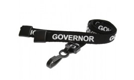 15mm Lanyard Printed Governor Plastic Clip Black (Pack 10)