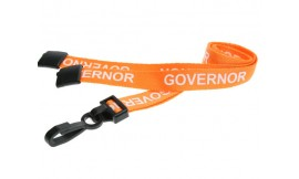 15mm Lanyard Printed Governor Plastic Clip Orange (Pack 10)