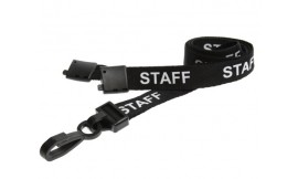 15mm Lanyard Printed Staff Plastic Clip Black (Pack 10)