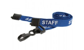 15mm Lanyard Printed Staff Plastic Clip Blue (Pack 10)