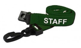 15mm Lanyard Printed Staff Plastic Clip Green (Pack 10)