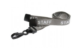 15mm Lanyard Printed Staff Plastic Clip Grey (Pack 10)