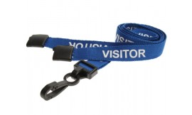 15mm Lanyard Printed Visitor Plastic Clip Blue (Pack 10)