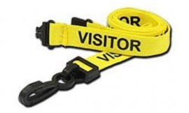 15mm Lanyard Printed Visitor Plastic Clip Yellow (Pack 10)