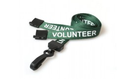 15mm Lanyard Printed Volunteer Plastic Clip Green (Pack 10)