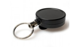 Heavy Duty Retractable Reel Key Ring Black (Pack 1)