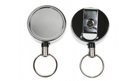 Heavy Duty Retractable Reel Key Ring Chrome (Pack 1)