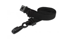15mm Deluxe Lanyard Black | Pack 10