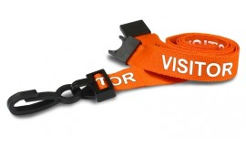 Orange Visitor Lanyard | Pack 10
