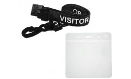 Black Visitor Lanyard | Pack 10 **Free Wallet**