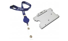 Retractable Staff Lanyard Blue | Pack 10 *Free Holder*