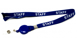 15mm Retractable Staff Lanyard - Blue (Pack 10)