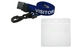 Blue Visitor Lanyard | Pack 10 **Free Wallet**
