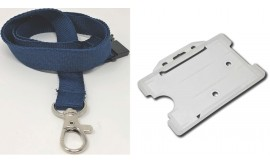 Plain Dark Blue Lanyard with Clear Card Holder | Pack 1