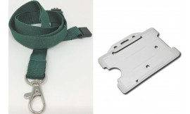 Plain Green Lanyard with Clear Card Holder | Pack 1
