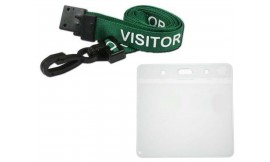 Green Visitor Lanyard | Pack 10 **Free Wallet**