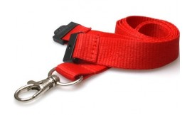20MM RED LANYARDS WITH FLAT BREAKAWAY AND METAL TRIGGER CLIP (PACK 10)