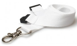 20MM WHITE LANYARDS WITH FLAT BREAKAWAY AND METAL TRIGGER CLIP (PACK 10)