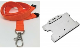 Plain Orange Lanyard with Clear Card Holder | Pack 1