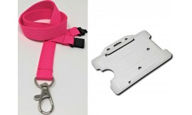 Plain Pink Lanyard with Clear Card Holder | Pack 1