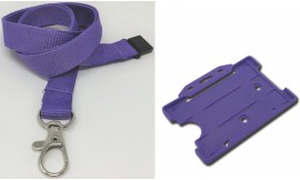 Plain Purple Lanyard with Matching Card Holder | Pack 1