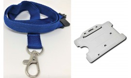 Plain Royal Blue Lanyard with Clear Card Holder | Pack 1