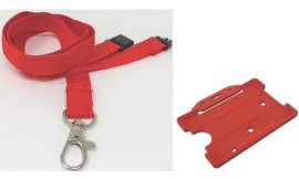 Plain Red Lanyard with Matching Card Holder | Pack 1