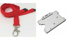 Plain Red Lanyard with Clear Card Holder | Pack 1