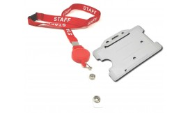 Retractable Staff Lanyard Red | Pack 10 *Free Holder*