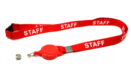 15mm Retractable Staff Lanyard - Red (Pack 10)