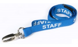 15mm Lanyard Printed Staff Lobster Clip Blue (Pack 10)
