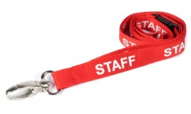 15MM LANYARD PRINTED STAFF LOBSTER CLIP RED (PACK 10)