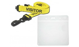 Yellow Visitor Lanyard | Pack 10 **Free Wallet**