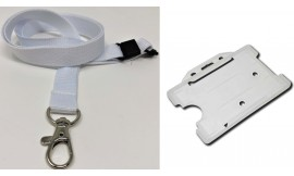 Plain White Lanyard with Clear Card Holder | Pack 1