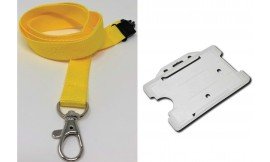 Plain Yellow Lanyard with Clear Card Holder | Pack 1